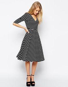 ASOS Midi Skater Dress in Textured Stripe