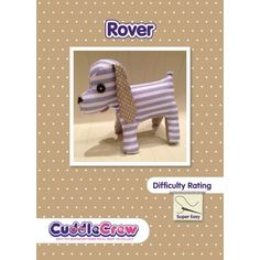 Dog toy Plushie sewing pattern perfect for kids to learn to sew.