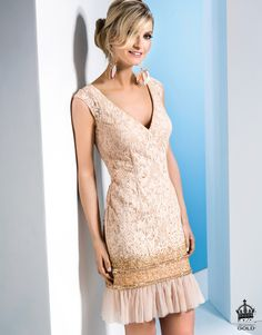 Linea Raffaelli - Resort - Set 401 - Short lace cocktail dress in blush pink with gold sequins - Gold collection