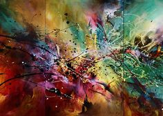 Abstract Art Greeting Card featuring the painting 'all At Once' by Michael Lang