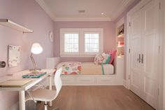 Ikea LINNMON/ ADILS, lilac girls room, white Ikea desk...love how the bed is built in from wall to wall.☺