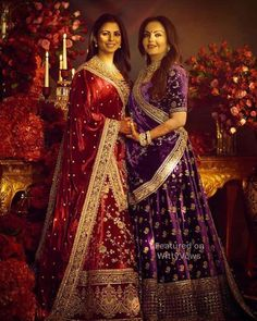 A jaw-dropping wine hued lehenga with minimal golden embroidery making bootis and vine motifs looks simple yet to perfect. Also, the heavy thick borders beautify the lehenga allover. Indian Bridal Fashion, Indian Bridal Wear, Indian Wedding Outfits, Bridal Outfits, Indian Outfits, Bridal Dresses, Indian Weddings, Indian Wear, Unique Weddings