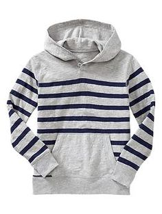 Striped button hoodie
