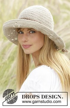 Crochet DROPS hat with lace pattern in
