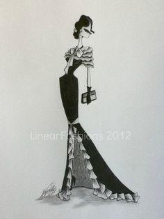 Fashion Art Illustration 1930s Ruffle Evening by LinearFashions, $32.00