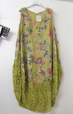 Lagenlook Parachute Linen Lace Vest Dress Green Floral