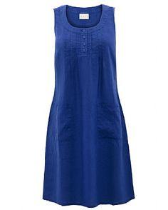 Pintuck Button Linen Dress