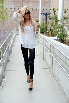 Leather pants and white button up.