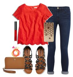 """""""❤️"""" by preppygirl13 ❤ liked on Polyvore featuring Frame Denim, J.Crew, Merona, NARS Cosmetics, Panacea and Tory Burch"""