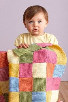 Bright Garter Patches Throw. Cute blanket and site has help for beginners!