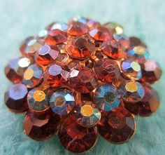Vintage Button -1 beautiful extra large stacked flower design large, iridescent topaz glass rhinestones, antique gold finish metal