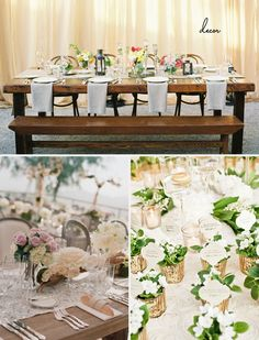 Bench-style guest seating: SMP    Elegant and Soft Table Settings: SMP    Mercury Glass Escort Cards: Grey Likes Weddings