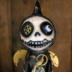 Reserved for Smileyface4u23- First Half Down-Steampunk Souls Paper Mache Art Doll Flying Grim Reaper. $35.00, via Etsy.