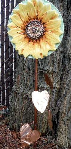 Sunflower with Copper Stem and Seven Copper Leaves
