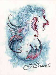 Art Print - Seahorse Crush by Amy Brown Plus