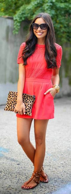 Everyday New Fashion: Red Crochet Romper