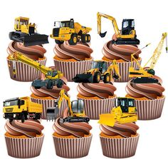 JCB Construction Diggers Party Pack - 36 Edible Cup Cake Toppers Boys Mens