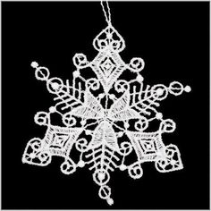Snowflake White Lace Ornament With Heart Tips