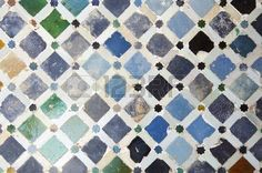 Picture of closeup of a plaster wall in the Alhambra Palace, Granada, Andalusia, Spain stock photo, images and stock photography. Granada Andalucia, Andalusia Spain, Spanish Tile, Plaster Walls, Color Tile, Mosaic Patterns, Bath Remodel, Islamic Art, Clay Art