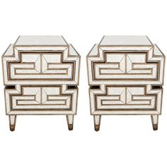 Pair of Asian Inspired Custom-Made Eglomise Side Tables & Night Stands | 1stdibs.com
