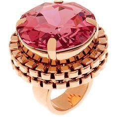 Mawi Pink Crystal Cocktail Rose Gold Ring