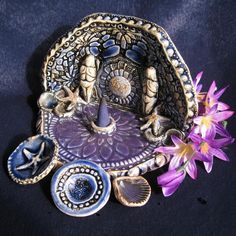Guardians of the Sea - Goddess Shrine - Cobalt, Purple Mandala - Starfish, Tiny Shells, Moons, Pagan Triskela, 3 Mini bowls. $41.00, via Etsy.