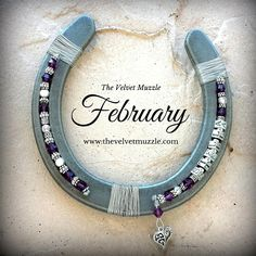 Personalized Birthstone Horseshoe | February | Amethyst & Silver | Pewter | Available with one name or two! www.thevelvetmuzzle.com