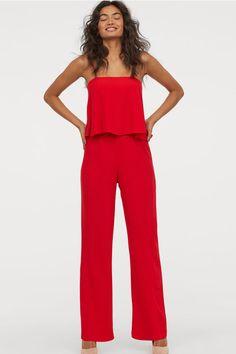 Crêped Jumpsuit - Red - Ladies   H&M US 2