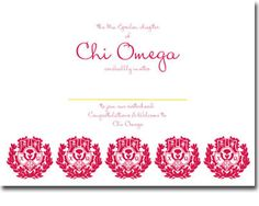 Chi Omega Bid Day invitations from Truly Sisters