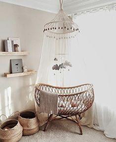 wicker baskets / basket crib / wooden hangers / neutral nursery / simple / minimal / babies room / zero waste kids inspo