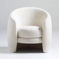 Calder Chair + Reviews | Crate and Barrel Unique Furniture, Custom Furniture, Furniture Design, White Duvet Covers, Curved Sofa, Modern Art Deco, Modern Design, Engineered Hardwood, Living Room Chairs