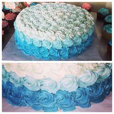 Ombré teal flower bridal shower cake