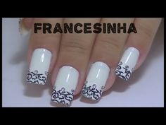 Francesinha Invertida na Unha Fosca (Meia Lua Glitter) Reverse Frenchie Nail (matte moon) - YouTube