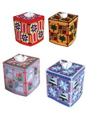 Quilt Tissue Toppers for All Seasons - #A839859  I especially like the fall one in the top right hand corner.  BAP
