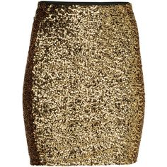 H&M Glittery skirt ($20) ❤ liked on Polyvore featuring skirts, gold, h&m skirts, brown skirt, short skirts, elastic waist skirt and h&m