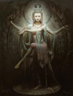 Quan Yin posing as Lord Shiva by Zeng Hao.