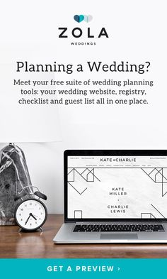 "Planning a wedding? Meet your FREE suite of planning tools: your website, registry, checklist, and guest list all in one place. We like to think of it as ""the heart of your wedding."" We hope you agree."