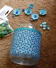 Recycled crafts are so fun and I love the cost (free)! You'll be decorating glass jars with fabric scraps and embellishments - very easy. Mod Podge Crafts, Glue Crafts, Recycled Jars, Recycled Crafts, Small Glass Containers, Mod Podge Gloss, Baby Food Jars, Decorated Jars, Button Crafts