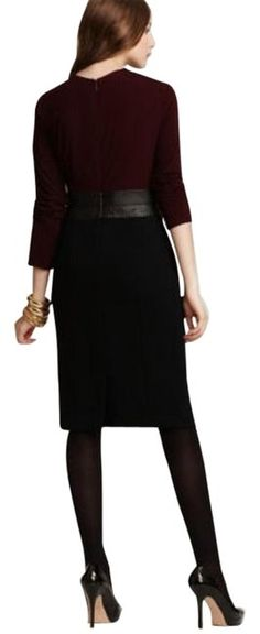 Anne Klein Black Burgundy Leather Inset Short Work/Office Dress Size 8 (M) off retail Office Dresses, Dresses For Work, Crepe Skirts, Luxury Dress, Anne Klein, Wool Blend, Luxury Fashion, Burgundy, Authenticity