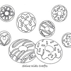 Free printable coloring page / calendar. This is blank donuts version for kids designing & coloring. Cute & creative are the passions of Shine Kids Crafts. Donut Coloring Page, Food Coloring Pages, Free Coloring, Coloring Pages For Kids, Printable Crafts, Templates Printable Free, Free Printable Coloring Pages, Free Printables, Donut Birthday Parties