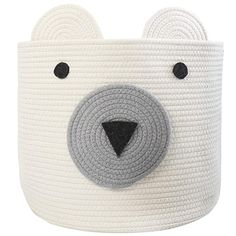 "Amazon.com : COMEMORY Cotton Rope Storage Basket with Cute Bear Design Foldable Woven Laundry Basket with Large Capacity Decorative Basket Organizer for Toys, Blanket, Towels, Clothes, 16""(D) x 14""(H) : Baby"