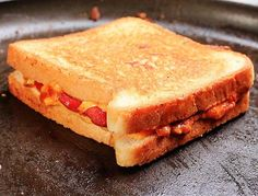 The Chili Grilled Cheese Dog...Thin-slice a single hot dog, fry it up on a hot skillet, then lay it on top of a slice of bread lined with American cheese. Spoon on some chili, add another slice of cheese, then close'er up and grill in the fat rendered out of the hot dog
