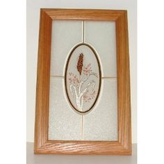 Oak Framed Wheat Head & Flowers Mural Window