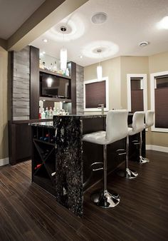 Have to remember two level counter top. Small contemporary basement bar design [Design: Urban Abode]