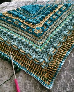 KNITTING  ||  original pinner: WIP Lost in Time Shawl. My second one. All in cottons. Loving the colours.
