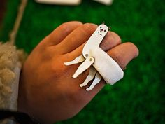 Handmade leather animal ring by  MXS I think I may have to make a needle felted llama ring now...