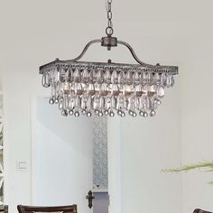 Crystal Glass Drop 3-light Antique Silver Chandelier (Crystal Glass Drop, Matte Silver Chandelier)