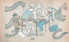So much detail... don't let the monsters get your love, happy couple! Luiza Kwiatkowska by ILLVILLE HOTEL , via Behance