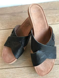 d873e0febd09e UGG Women s Lyra Sandals Size 7 Black Leather Wedge Cork Heel Slip On