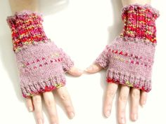 Pink and red fingerless mittens pink womens by FruitofPhalanges, $40.00